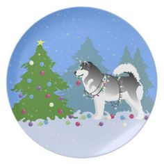 Alaskan Malamute Christmas Plate Breed_Collection: Products on Zazzle