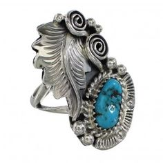 Native American Turquoise Sterling Silver Leaf Ring Size 6-3/4 AX96991-0