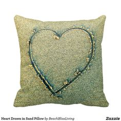 Heart Drawn in Sand Pillow