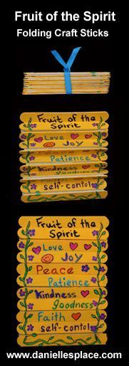 When we talk about respect for God we could adapt this Fruit of the Spirit Folding Craft Stick Bible Craft. We could write attributes of God on the sticks. Catholic kid activities and crafts Bible crafts religious education DIY Bible Story Crafts, Bible School Crafts, Bible Crafts For Kids, Vbs Crafts, Camping Crafts, Craft Stick Crafts, Craft Ideas, Kids Bible, Children's Bible