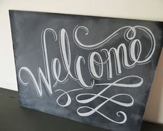 New Questions About Welcome Sign Designs There are a large selection of designs and layouts out there. You see, we feel that design in its best is peo. Welcome Font, Chalkboard Welcome Signs, Chalkboard Writing, Chalkboard Lettering, Chalkboard Designs, Diy Chalkboard, Chalkboard Quotes, Pallet Art, Chalk Art