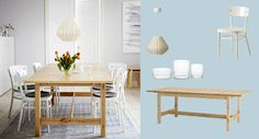 lots of good ideas at IKEA dining tables....  NORDEN extendable dining table in solid birch seats 8-10 with IDOL white chairs