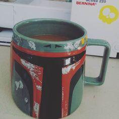 Earlier start than usual for me. Boba Fettbsize mug for me this morning. -michele . . . . . #bobafett #starwars #geek #geekdom #nerd #nerdy #earlybirdgetstheworm #working #morning #sewing #zookaboo