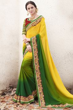 Yellow and Green Colour Georgette Fabric Party Wear Designer Saree Comes With Matching Blouse. This Saree Is Crafted With Lace Work. This Saree Comes With Unstitched Blouse Which Can Be Stitched Up To...