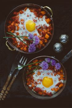 Sweet Potato & Tomato Egg Bake with Chive Flower