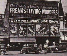 Olympia Circus Sideshow front Coney Island, New York early 1930s .