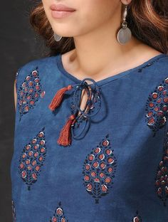 Best 12 Indigo Natural-dyed Dabu-printed Sleeveless Cotton Dress by Jaypore Chudidhar Neck Designs, Salwar Neck Designs, Kurta Neck Design, Neck Designs For Suits, Kurta Designs Women, Dress Neck Designs, Designs For Dresses, Sleeve Designs, Blouse Designs