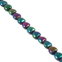 This strand of Rainbow Coated Pyrite Puffy Hearts will put the shimmer into your designs.
