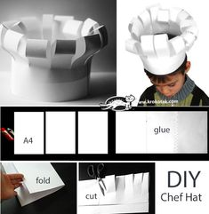 chef hats for kids how to make * chef hats for kids - chef hats for kids how to make - chef hats for kids free pattern - chef hats for kids diy Chef Hats For Kids, Kids Hats, Preschool Cooking, Preschool Crafts, Paper Chef Hats, Diy For Kids, Crafts For Kids, Chef Party, World Thinking Day