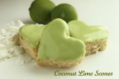 Coconut Lime Scones >> well that sure sounds delicious! You can also make them with biscuits if you don't have the ingredients for scones. Köstliche Desserts, Delicious Desserts, Dessert Recipes, Yummy Food, Scone Recipes, Cupcakes, Yummy Treats, Sweet Treats, Eat Dessert First