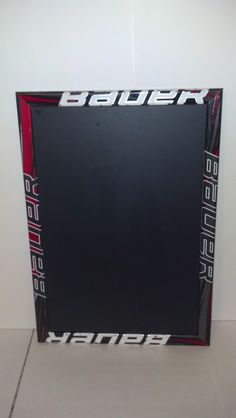 """custom order/  Magetic Hockey stick framed chalk boards 23"""" x 16""""  weighs approx 3 lbs FREE SHIPPING us residents only by HockeyStickFrames on Etsy https://www.etsy.com/listing/161487232/custom-order-magetic-hockey-stick-framed"""