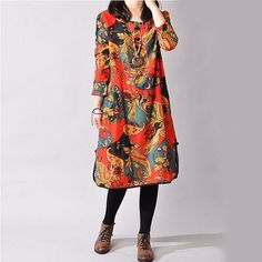 a27ba8b575b66 2016 Autumn and Winter Vintage Plus Size Long Sleeve Printed Ethnic Loose  Cotton 3 Colors Linen