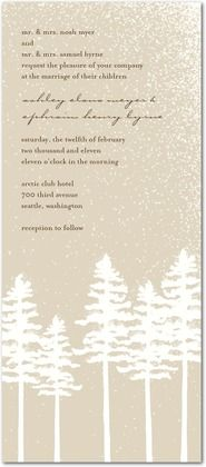 snowfall invitation; pine trees; tall narrow. comes in soft taupe, sage green, or blue
