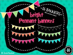 "This zip file contains 16 brightly colored pennant banners.  There are two sets: one set features a black outline and the other set features a white outline.  For more items in this color theme, check out the ""Lots of Spring"" Bundle.  The bundle features digital papers, pennant banners, flag banners, ribbons, frames, and bubble border."