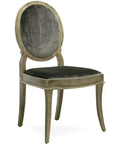 THAYER SIDE CHAIR #1070-S Antiqued Silver Leaf Finish Shown upholstered in Classic Cloth's Montague - Black Pearl