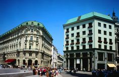 On the right is a typical architectural example of Adolf Loos - LoosHaus, Vienna Imperial Palace, Lonely Planet, Vienna, Austria, Planets, Multi Story Building, Street View, Gallery, Travel