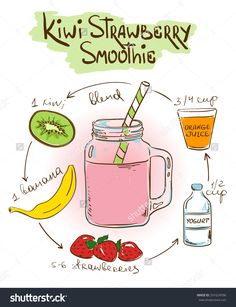 Hand Drawn Sketch Illustration With Kiwi Strawberry Smoothie. Including Recipe And Ingredients For Restaurant Or Cafe. Healthy Lifestyle Concept. - 291624596 : Shutterstock