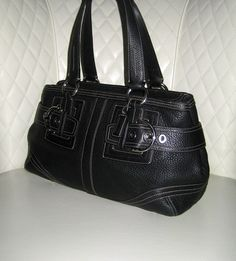 I'm auctioning 'COACH Hampton Black Pebbled Leather Belted Satchel ' on #tophatter