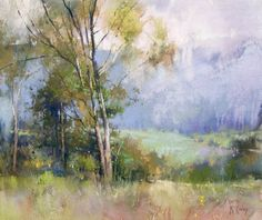 A Gentle Rain by Richard McKinley Pastel ~ 15 x 18 Pastel Landscape, Watercolor Landscape, Abstract Landscape, Landscape Paintings, Pastel Watercolor, Pastel Drawing, Watercolor Paintings, Pastel Artwork, Guache