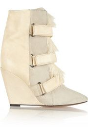 Isabel MarantPierce suede, leather and calf hair wedge boots