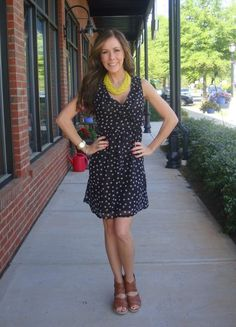 In a Daisy Dress, $59.99 (sizes XS-L)  Necklace, 35  DV by Dolce Vita Braided Wedge, 79.99  (sizes 6-10, whole & half sizes available)