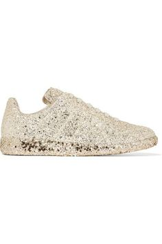 Sole measures approximately 20mm/ 1 inch Pale-gold glittered leather Lace-up front Made in Italy