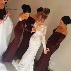 Mermaid/Trumpet Bridesmaid Dresses, Burgundy Mermaid/Trumpet Bridesmaid Dresses, Mermaid/Trumpet Long Bridesmaid Dresses, Mermaid Long Sleeves lace off the Shoulder Sexy Bridesmaid Dresses For Weddings #mermaidweddingdresses