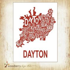 Dayton footprint map by cartografika on etsy dayton oh pinterest clever graphic representation of the greater dayton area malvernweather Images