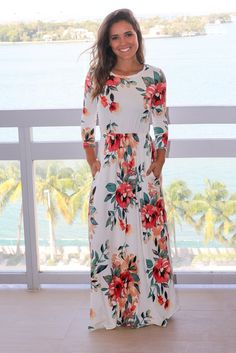 Ivory Floral Maxi Dress with 3/4 Sleeves