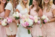 Mismatched blush, ivory and pink bridesmaid dresses. Peonies too! ©Jennefer Wilson
