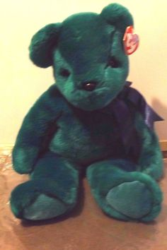 TY  9372 Beanie Baby retired Teal Teddy 12