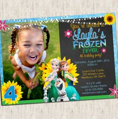 Frozen Fever Invitation  Custom Photo Invitation  by PSSPrints
