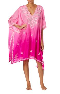 1af9ecb879848c Ombre Hot Pink Poncho With Sequin Embroidery - Juliet Dunn Online Juliet  Dunn, Sequin Embroidery