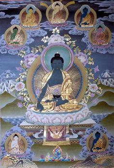 edicine Buddha and his Healing Buddha The practice of Medicine Buddha, the Supreme Healer, is not only a very powerful method for healing and increasing healing powers both for oneself and others Lotus Buddha, Art Buddha, Buddha Zen, Tibetan Art, Tibetan Buddhism, Buddhist Art, Thangka Painting, Art Japonais, Sacred Art