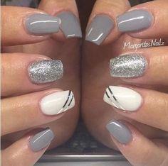 Elegant and modern gray nail art