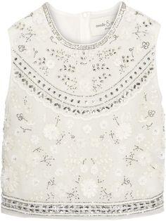 Needle & Thread - Bridal Cropped Embellished Chiffon Top - Ivory