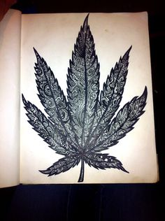 Sharpie drawing weed leaf