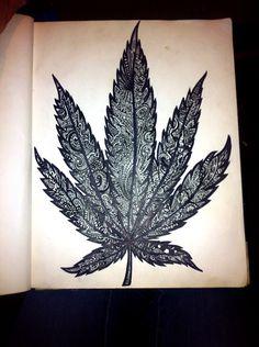Sharpie drawing weed leaf