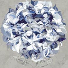 Sally-Scaffardi-Elegant-Hydrangea-I-Blume-Fertig-Bild-60x60-Wandbild