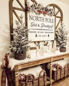North Pole Bed & Breakfast Wood Sign 30X38 / Farmhouse Sign / Rustic / Home Decor / Hand painted / Farmhouse Style / Gifts / Christmas