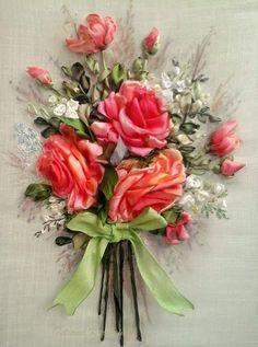 Composizione di rose,quadro ricamato con nastro di Le meravigle di nastro su DaWanda.com