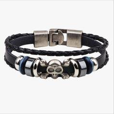 Skull Alloy Leather Bracelet //Price: $14.99 & FREE Shipping //     #hashtag3