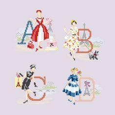 Le grand ABC «Les parisiennes» à broder au point de croix