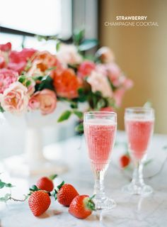 Strawberry champagne cocktails for the sweetheart!