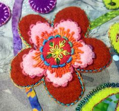 Flower embroidery by Kerry Stitch Designs. Enchantment wall hanging, pattern by Sue Cody of Dragonfly Studio.