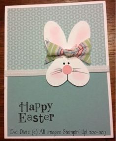 Happy Easter Bunny by Mama D - Cards and Paper Crafts at Splitcoaststampers - handmade Easter card … sweet punch art Easter Bunny head on grays … pink accents … heart head - Arte Punch, Punch Art Cards, Paper Punch, Happy Easter Bunny, Hoppy Easter, Greeting Cards Handmade, Handmade Easter Cards, Diy Easter Cards, Creative Cards