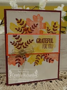 Stampin' Up! For all Things, handmade cards, fall, leaves, ssink blog hop, ink a doodle creations,