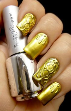 I usually dislike 3-D effects on nails, but I don't mind this... it's subtle.
