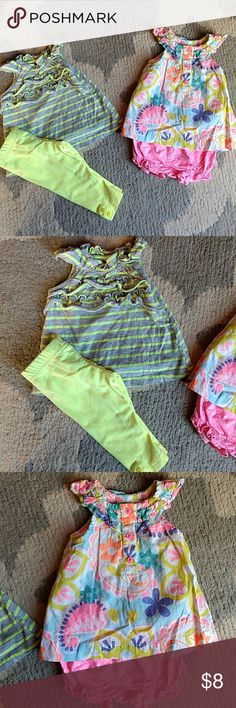 2 Outfits! Grey and neon yellow tank with ruffles! Matching leggings have cute buttons at each ankle. Pink print tank is thin and flowy with high neck and ruffles! Matching pink polkadot bubble shorts. No flaws! All is 3m Carter's Matching Sets