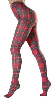 Opaque Tights Plaid Pattern Scottish Tartan red Malka-Chic, colorful printed opaque tights from smal Colored Tights, Patterned Tights, Opaque Tights, Grunge Look, 90s Grunge, Plaid Tights, Tights Outfit, Fashion Tights, Plaid Fashion